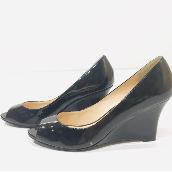 8dffe39b18 Cole Haan Shoes | Black Patent Peep Toe Wedge Size 9 | Poshmark